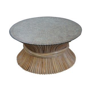 McGuire Style Rattan Wheat Sheaf Round Glass Top Coffee Table For Sale