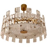 Image of 1950s Orrefors Swedish Mid-Century Crystal Chandelier For Sale
