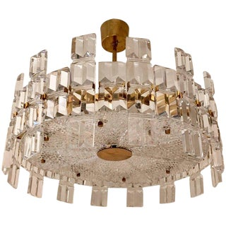 1950s Orrefors Swedish Mid-Century Crystal Chandelier For Sale