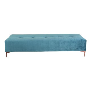 Teal Velvet Bench With Metal Legs For Sale