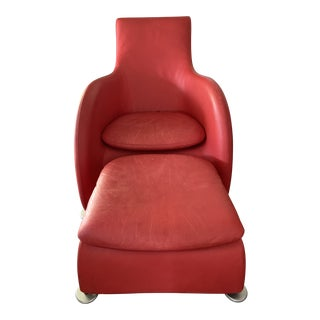 Modern Montis Loge Leather Chair & Ottoman For Sale