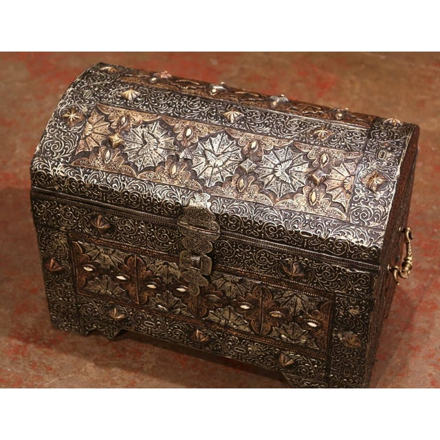 18th Century Spanish Gothic Repousse Silver and Gilt Copper Bombe Treasure Chest For Sale - Image 4 of 13