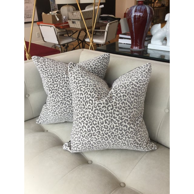 Scalamandre Panther Epingle Velvet Pillows - A Pair For Sale - Image 5 of 5