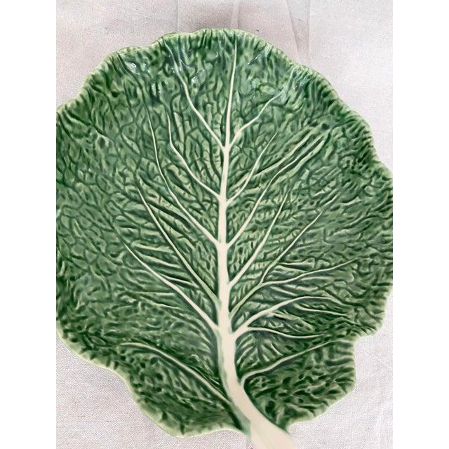 Bordallo Pinheiro Vintage Green Bordallo Pinheiro Cabbage Leaf Bowl For Sale - Image 4 of 10