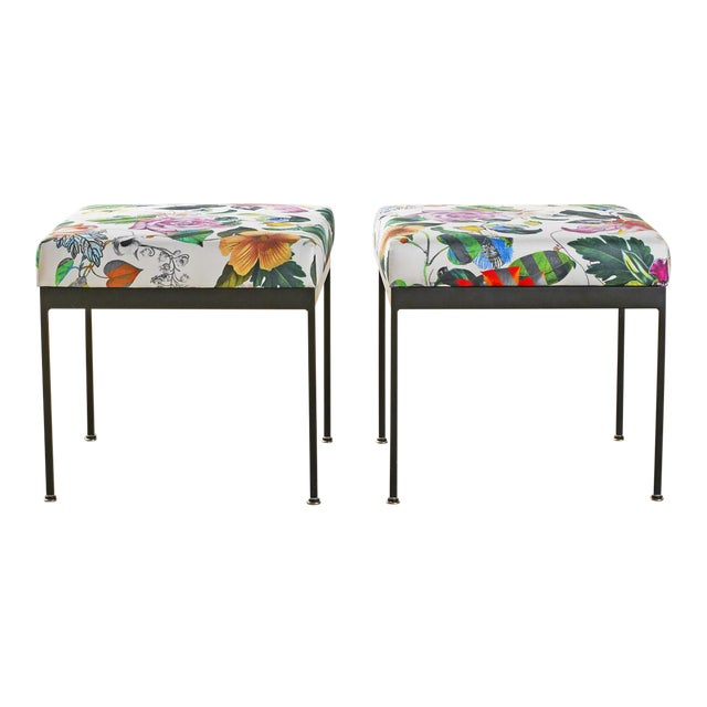 Mid Century Iron Stools or Ottomans in Christian Lacroix Floral Fabric, a Pair For Sale