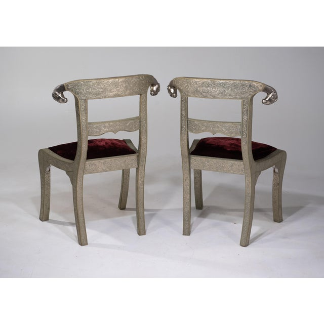 Anglo-Indian Glam Pair of Anglo Indian Regency Style Rams Head Side Chairs For Sale - Image 3 of 13