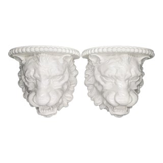 Large Vintage Italian White Ceramic Lion Head Wall Shelf Brackets - a Pair For Sale