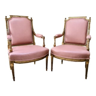 Late 18th Century Louis XVI Pink Leather Arm Chairs - a Pair For Sale