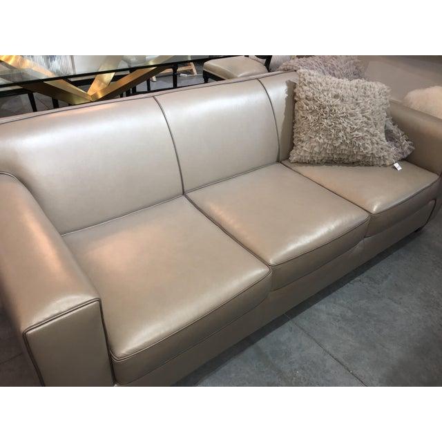 2010s Modern LeatherCraft Custom Pearlized Italian Leather Sofa For Sale - Image 5 of 13