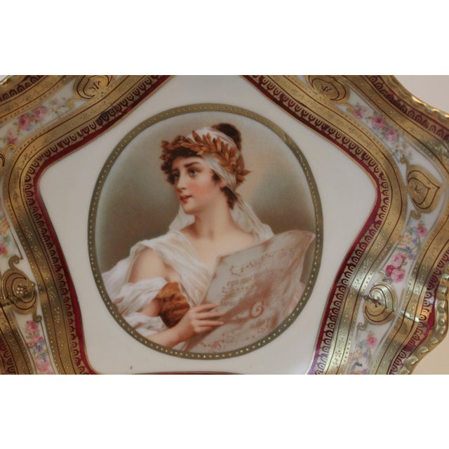 Early 20th Century Gilded Classical Muse Portrait Ornate Bowl For Sale - Image 5 of 8