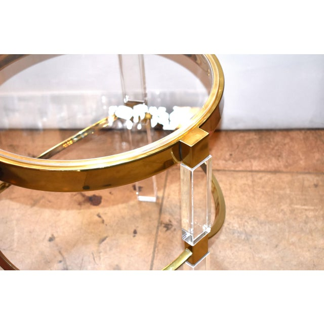 Pair of Charles Hollis Jones Lucite and Brass Side Tables 'Signed' For Sale In Los Angeles - Image 6 of 7
