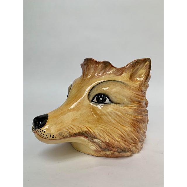 Italian Porcelain Fox Head Vase or Cachepot For Sale - Image 4 of 11