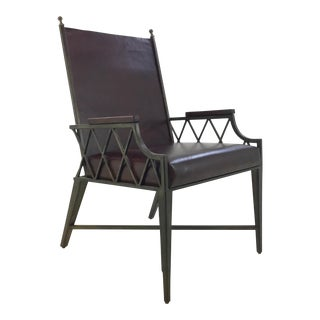 Global Views Modern Brown Saddle Leather and Metal Corset Lounge Chair For Sale