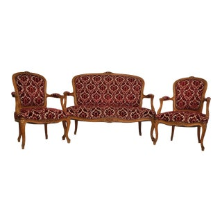 Pierre Deux French Provisional Vintage Louis XV Settee and Pair of Armchairs For Sale