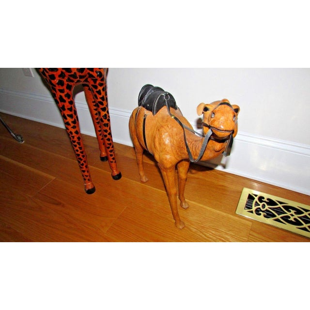 Handcrafted Leather Wrapped Paper Mache Giraffe and Camel - Set of 2 For Sale - Image 10 of 12