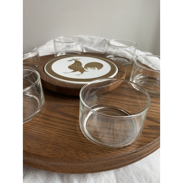 1960s 1960s Mid Century Modern Teak Lazy Susan With Gold Rooster For Sale - Image 5 of 10