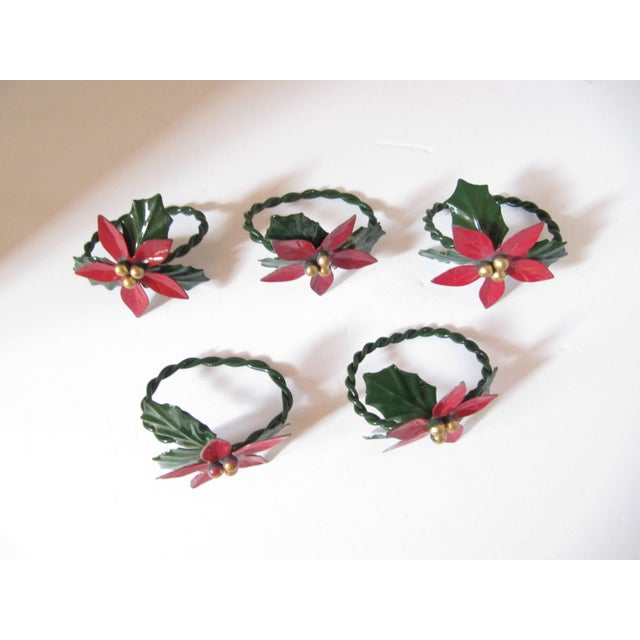 Christmas Holly Berry Napkin Rings-4 Pieces For Sale - Image 4 of 4