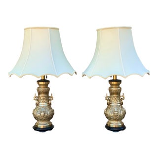 James Mont Asian Modern Brass Table Lamps With Silk Shades - a Pair For Sale