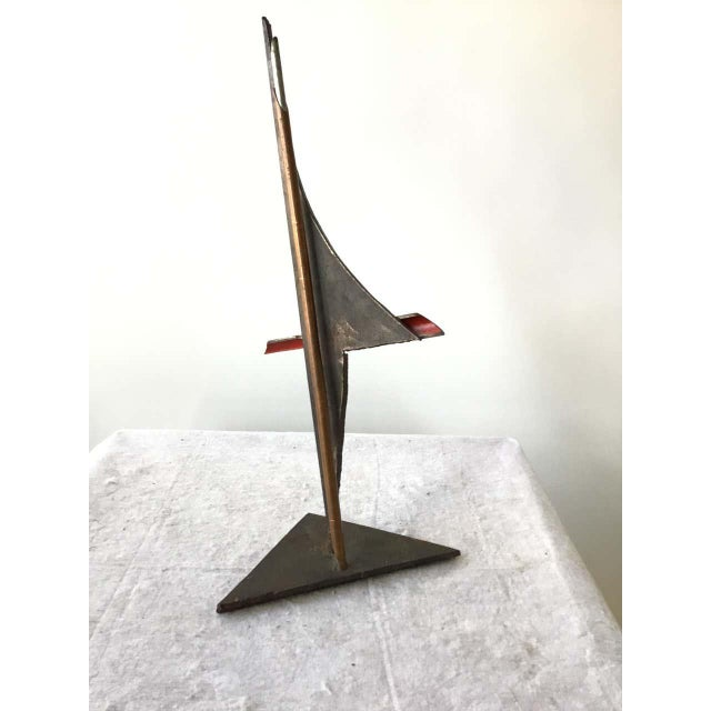 1980s Industrialist Iron and Copper Sculpture Signed Bob Lober For Sale - Image 4 of 11