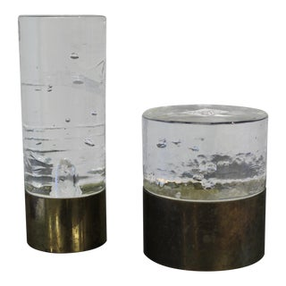 1960s Timo Saarpeneva Candle Holders in Glass & Brass - a Pair For Sale