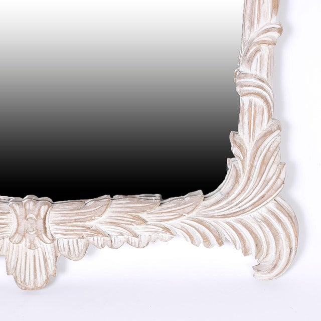 Mid 20th Century Carved Wood Pagoda Wall Mirror For Sale - Image 5 of 6