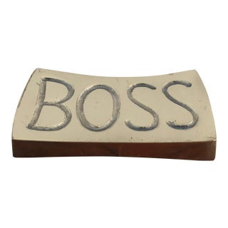 Vintage Brass Boss Paperweight For Sale
