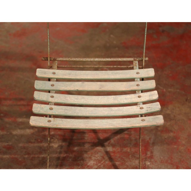 Set of Four 1920s French Iron and Wood Painted Folding Garden Chairs For Sale - Image 10 of 13