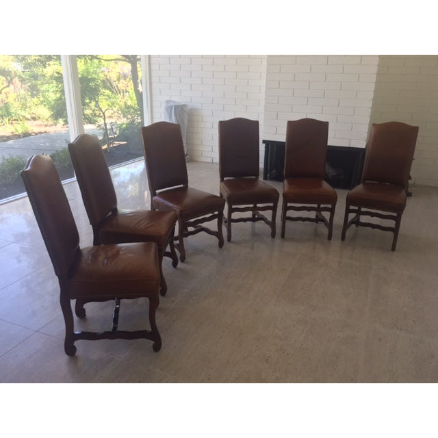 Leather Dining Chairs With Nailheads - Set of 6 - Image 4 of 9