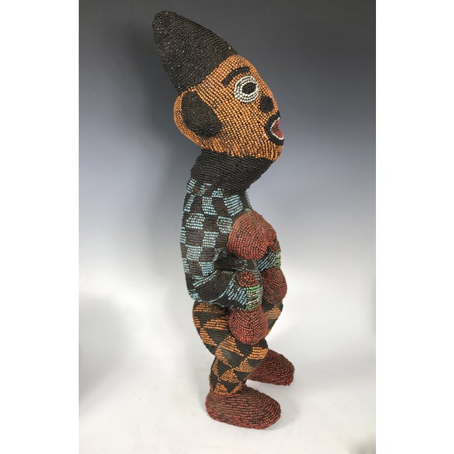African Tribal Bamileke Beaded Statue - Image 5 of 6