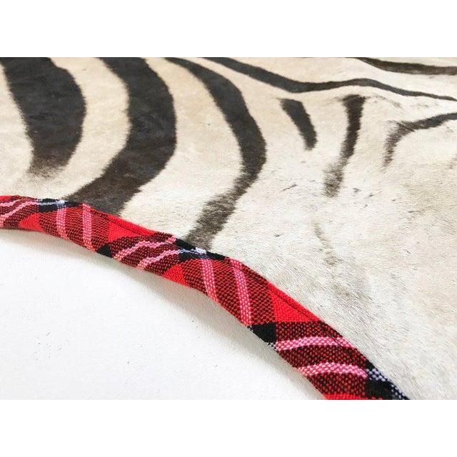 Maasai Warrior Blanket Trimmed Zebra Hide Rug- 6′6″ × 8′6″ For Sale - Image 5 of 5