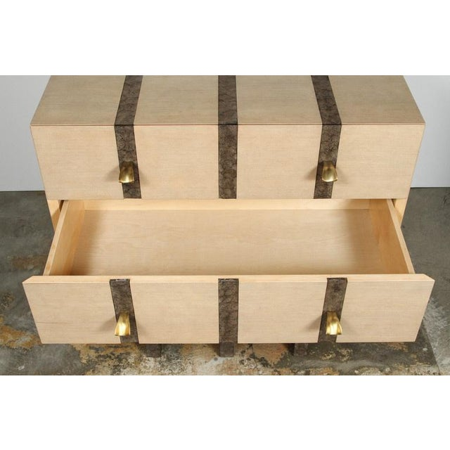 Paul Marra Three-Drawer Banded Chest in Bleached Douglas Fir and Inset Iron Band For Sale - Image 9 of 10