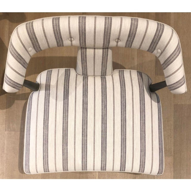 (x1) Newly upholstered Vintage Asian Inspired Chair Additional (x1) Chair Available Chairs have a newly refinished grey...