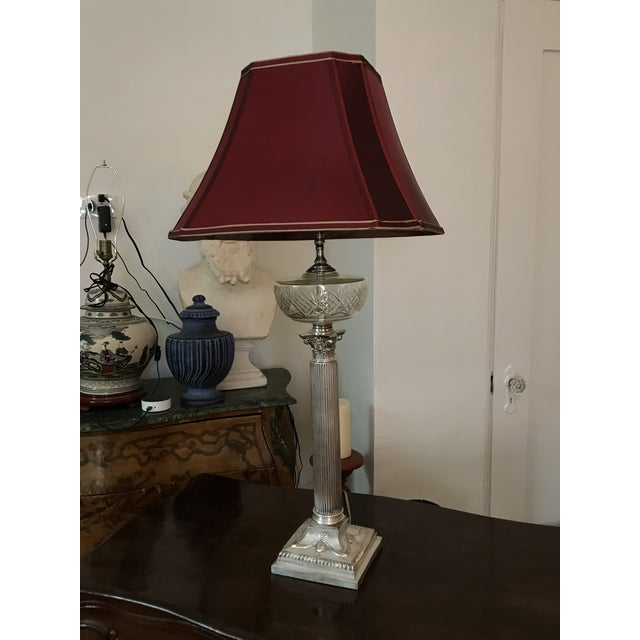 Gorgeous Silver plated Table Lamp With beautiful Burgundy Shade, polished Silver plated surface, The great original...