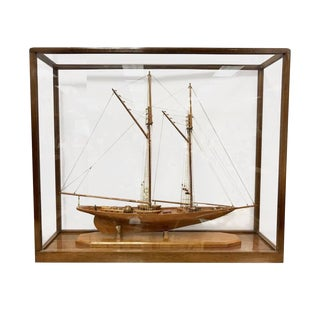 Model Schooner Boat Sailboat Ship Diorama Encased in Glass Cabinet For Sale