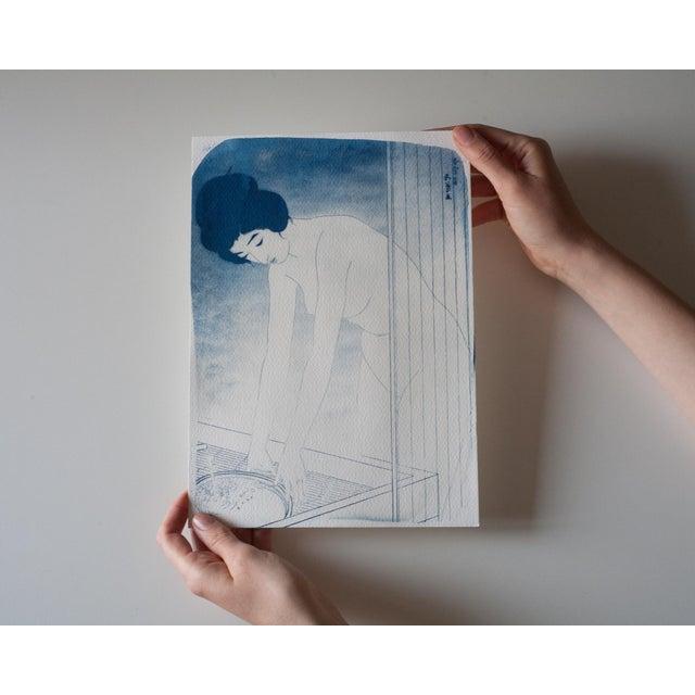 Cyanotype Print - Japanese Ukiyo-E Woman Bathing - Image 4 of 4