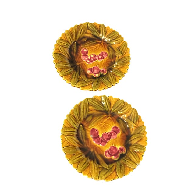 French Majolica Cherry Plates - Set of 2 - Image 1 of 4