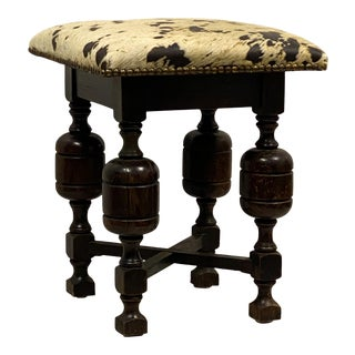 Early 20th Century Antique English Carved Oak Stool / Ottoman For Sale