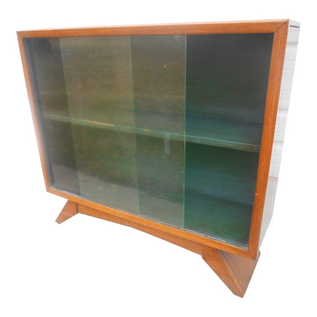 1930's Art Deco Petite Sliding Glass Door Bookcase For Sale