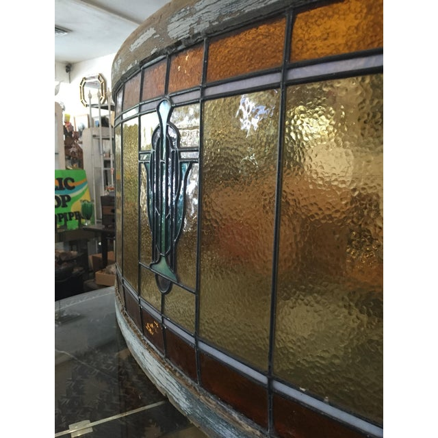 Orange Antique Mission Design Curved Stained Glass Window For Sale - Image 8 of 11