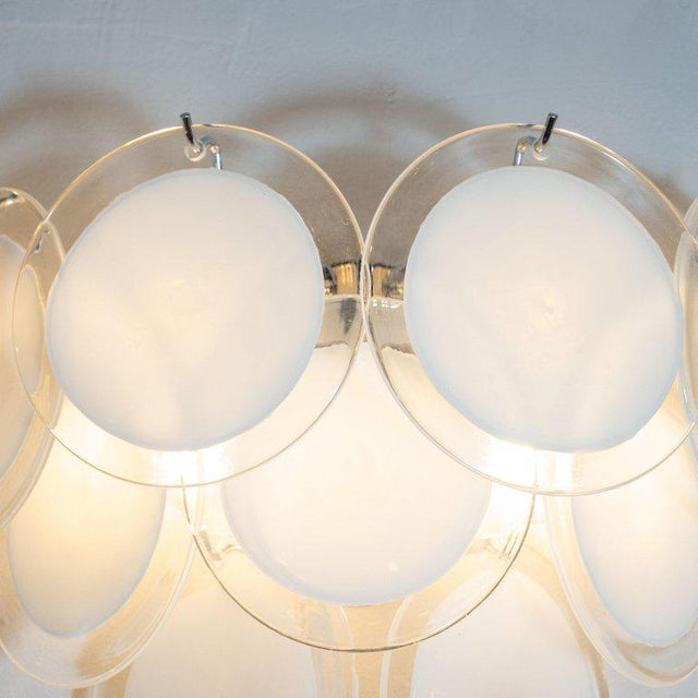 Contemporary Modernist 9-Disc Hand Blown Murano White and Translucent Glass Sconces - a Pair For Sale - Image 3 of 6