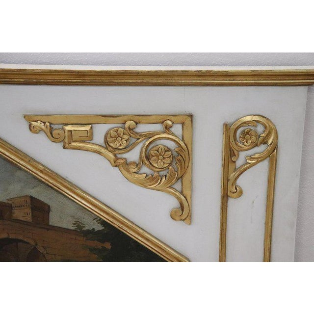 Louis XVI 20th Century, Italian Louis XVI Style Wood Lacquered and Gilded Fireplace Mirror For Sale - Image 3 of 13