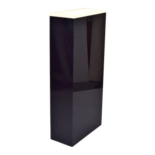 1980s Vintage Black Lucite Lighted Art Sculpture Display Pedestal Stand For Sale