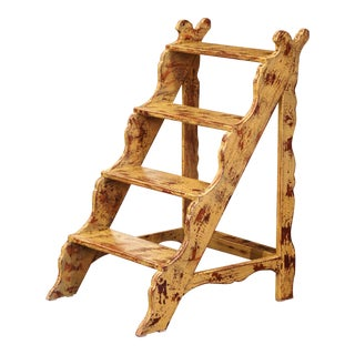 Mid-Century French Country Carved and Painted Pine Library Step Ladder For Sale