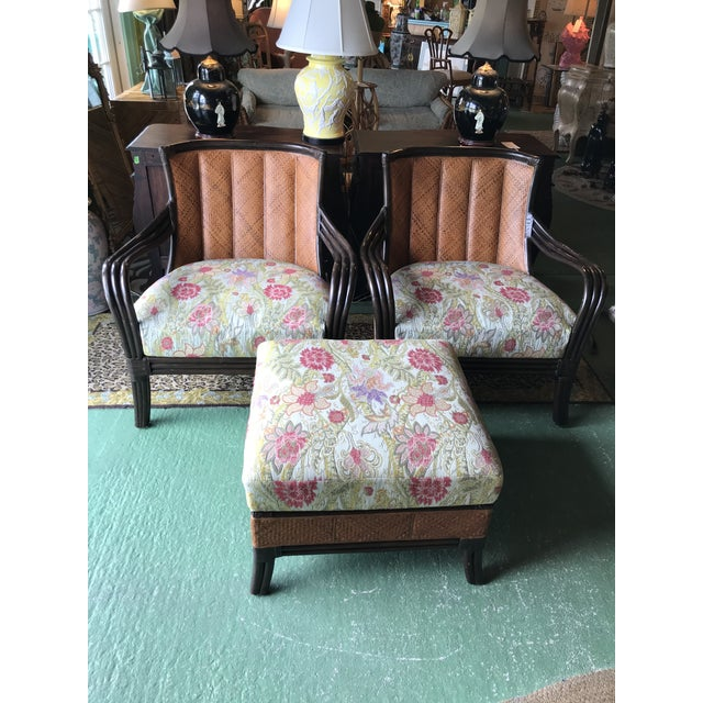 Palecek Rattan and Woven Wicker Pair Chairs and Ottoman For Sale - Image 12 of 13