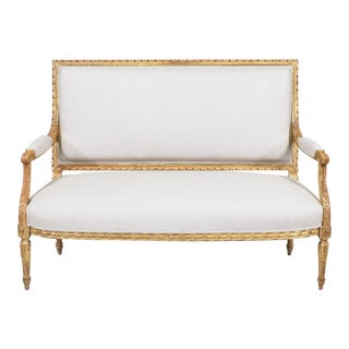 French Antique Giltwood Settee For Sale