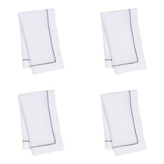 White Linen Dinner Napkins with Black Contrast Hemstitch - Set of 4 For Sale