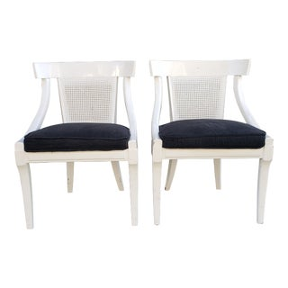 Vintage Mid Century Cane Backed Chairs- a Pair For Sale
