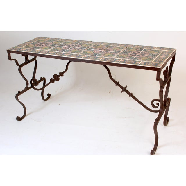 Spanish Tile Top Wrought Iron Patio Table For Sale - Image 13 of 13