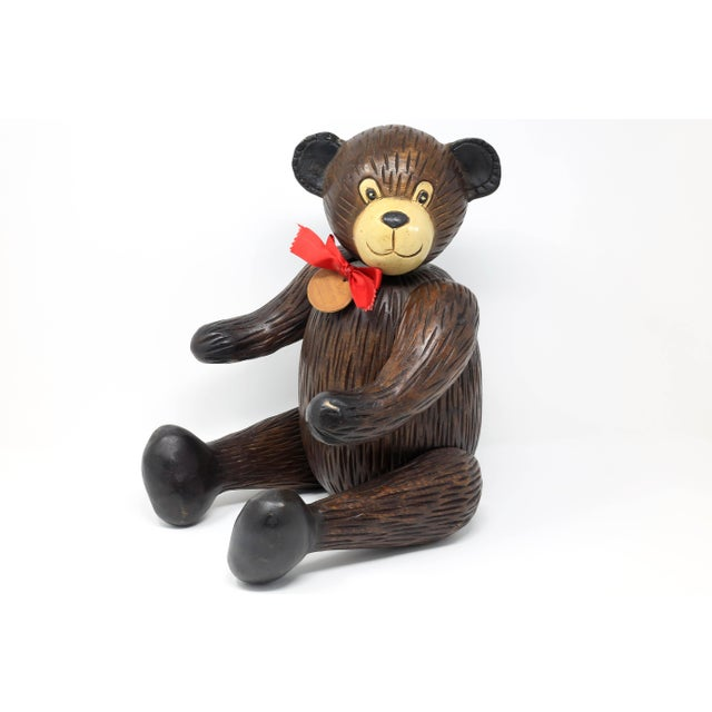 Vintage Hand-Carved Wood Jointed Teddy Bear For Sale - Image 9 of 9