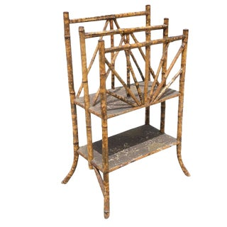 Restored Antique Tiger Bamboo Magazine Rack With Divider and Bottom Shelf For Sale